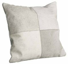 Beautiful beige cowhide square cushion
