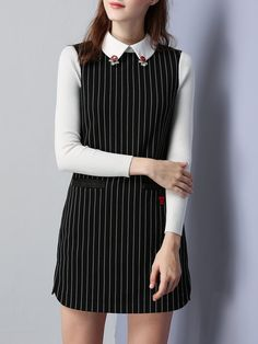 725f4a337f156  AdoreWe  StyleWe Dresses - KAN F Black Shift Shirt Collar Long Sleeve  Stripes