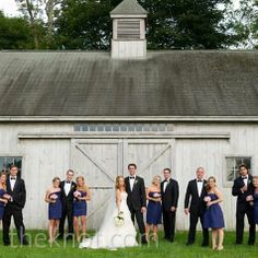 The bridesmaids in jcrew strapless navy dresses, guys  in tuxedos?