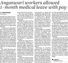 Anganwari workers allowed One month medical leave with pay. #Shiromaniakalidal #Parkashsinghbadal #Anganwari           #Medicalleave