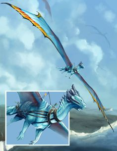 Absolutely stunning piece done by the ever awesome His Majesty's Dragon Exultatio, my Longwing/Yellow Reaper hybrid, is depicted here. Exultatio on Patrol ~ Mythical Creatures Art, Mythological Creatures, Magical Creatures, Subnautica Creatures, Wings Of Fire Dragons, Cool Dragons, Fantasy Beasts, Fantasy Art, Dragon Rider