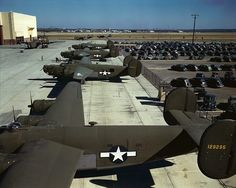 Rare 1944 color image of B-24 Liberators parked outside of USAF Plant 4 in Fort Worth, Texas.