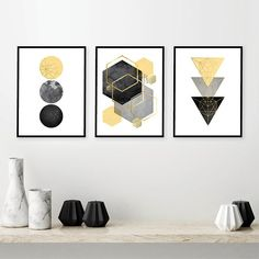 Downloadable Prints, Set of 3 Prints, Print Set, Yellow, Black, Gold, Scandinavian Art, Geometric, Minimalist Poster, Wall Art, Trending Art THESE ARE INSTANT DOWNLOADS – Your files will be available instantly after purchase. Please note that this is a digital download ONLY, no