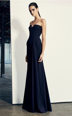 The designer: The Australian designer is a celebrity favorite known for his polished evening wear.    This season it's about: Fit-and-flares and column silhouette gowns are updated with unexpected cutouts, strappy necklines and crisp pleating.