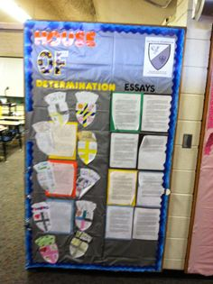 Houses - House hallway bulletin board. This one belongs to a teacher on the House of Determination!