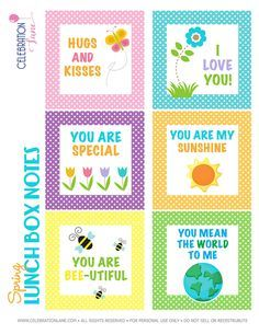 Spring Lunch Box Notes with Free Printables Lunchbox Notes For Kids, Lunch Notes, School Lunch Box, School Lunches, Box Lunches, School Days, School Stuff, Love Notes, Kids And Parenting