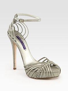 Ralph Lauren Collection - Strappy Metallic Suede Platform Sandals