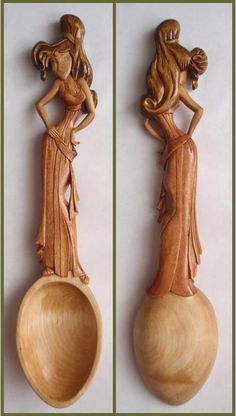 Figurative carved wood spoon