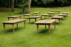 rented rustic farm tables trump fold-up tables. more natural and intimate feel.