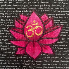 pink lotus, painting, om mani padme hum, mantra, original art