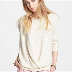 """Free People draped oatmeal sweatshirt A drapey pullover sweater in a supersoft French terry with dropped shoulders, raw edges, and reverse seams for a sumptuous naughty-meets-nice look. New with tags. - Approx 24"""" across bust, 18"""" bottom hem, 26"""" length, 12"""" neck opening - 70% cotton, 20% polyester, 10% rayon Free People Tops Sweatshirts & Hoodies"""