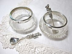 Glass Open Salt Cellars with Sterling Silver Rims and 835 Silver Salt Spoons - Cherubs