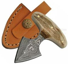 "4.50"" Full Tang Custom Made Damascus Antler Push Dagger Knife"