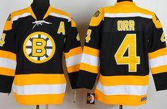 Boston Bruins Jersey -  4 Bobby Orr Black CCM Jersey with A patch 4bacbcec9