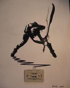 Paul Simonon portrait made of cassette tape.