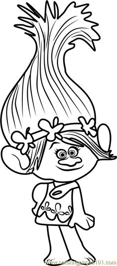 Princess Poppy From Trolls Coloring Page For Kids And Adults Cartoon Movies Pages