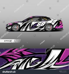 Graphic abstract stripe racing background kit designs for wrap vehicle, race car, rally and adventure. Rc Car Bodies, Agv Helmets, Motorcycle Decals, Racing Car Design, Motorbike Design, Drift Trike, Car Racer, Car Painting, Car Wrap