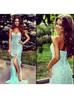 Chiffon Sweetheart Natural Blue Prom Dresses
