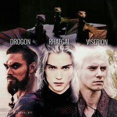 Drogon, Rhaegal, Viserion, targaryen, dragons, edit, gameofthrones_all, Instagram,fanpage
