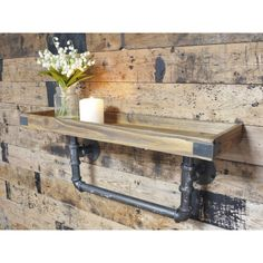 Shabby Chic Urban Design Wall Mount Shelving made out of industrial steel pipes and reclaimed wood. Perfect vintage home decoration shelf.