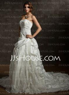 Wedding Dresses - $199.69 - A-Line/Princess Strapless Chapel Train Taffeta Wedding Dresses With Ruffle Lace Beadwork (002012036) http://jjshouse.com/A-line-Princess-Strapless-Chapel-Train-Taffeta-Wedding-Dresses-With-Ruffle-Lace-Beadwork-002012036-g12036