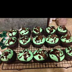 Andes mint chocolate cupcakes. Box of dark chocolate cake mix with a splash of mint extract, buttercream frosting dyed green (add mint in small amounts to your liking),  Melt Andes mints and drizzle over icing  then top with Andes mints