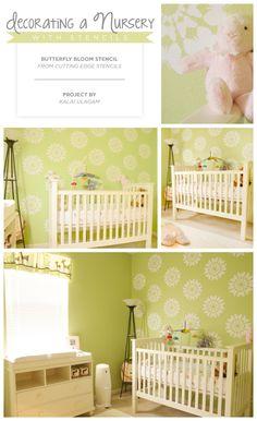 A green stenciled nursery idea using the Butterfly Bloom stencl. http://www.cuttingedgestencils.com/Butterfly-stencils-for-nursery.html  #stenciled #nursery #ideas