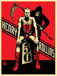 Shepard Fairey poster for the Henry Rollins 50 tour. Shepard Fairy, Omg Posters, Awesome Posters, Band Posters, Music Posters, Obey Art, Shepard Fairey Obey, Nam June Paik, Skate