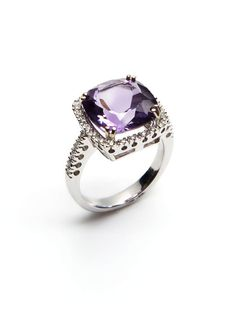 Square Amethyst & Pave Diamond Ring by Vendoro on Gilt.com