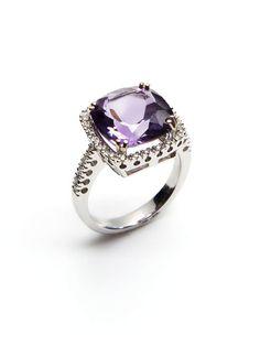 Square Amethyst & Pave Diamond Ring by Vendoro on Gilt.com