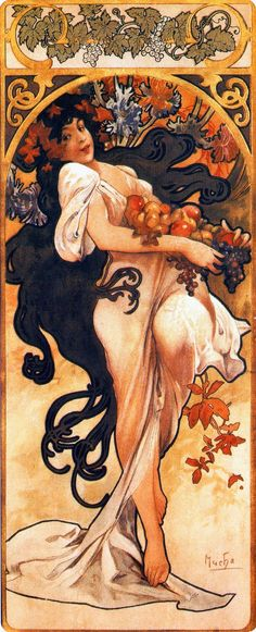 """""""Autumn"""" ~ Alphonse Mucha ~ Click through the large version for a full-screen view (with a black background in Firefox). Set your computer for full-screen. ~ Mik's Pics """"Alphonse Mucha l"""" board Art Nouveau Mucha, Alphonse Mucha Art, Art Nouveau Poster, Art And Illustration, Illustrator, Jugendstil Design, Art Deco, Kunst Poster, Oeuvre D'art"""