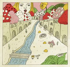 Paula Sosa Holt, illustration, drawing, fungi, little city, tiny people, vintage, hongos