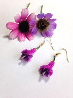 Fuchsia Earings by BeadifulByJill on Etsy, £10.00