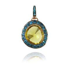 Annoushka Blue Diamond and Olive Quartz Dusty Diamond Pendant