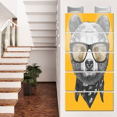 Designart 'Funny Bear with Formal Glasses' Contemporary Animal Glossy Metal Wall Art