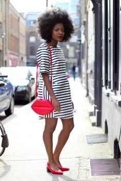 topshop stripes dress, asos kiss purse, topshop pointy heels, low heels, cat eyes sunglasses, afro,
