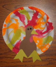 turkey craft- some dabs of paint and a straw OR some dabs of paint and a marble, let them roll it around the plate.