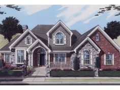 The Rainhill Traditional Home has 4 bedrooms, 3 full baths and 1 half bath. See amenities for Plan 065D-0143.