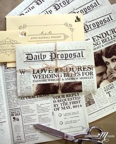 this could be a cool program The Daily Proposal, 1920s themed vintage newspaper wedding invitation ~ by onelittlem