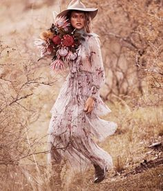 The Station Master's Daughter: Chloe Lecareux by Steven Chee for Grazia Australia November 2016 - Posing with a bundle of flowers, Chloe poses in Zimmermann pleated dress
