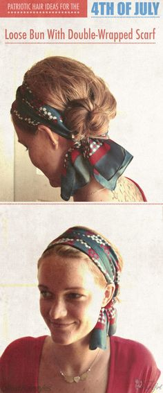 loose bun and scarf.  I love this look..   wonder if I could pull it off!