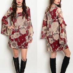 🚨LAST 2🚨Burgundy Floral Bell Sleeve Dress