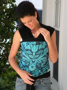 Baby Sling Wrap Carrier-ORGANIC Cotton-Teal Acanthus On Black- Newborn to Toddler Carrier-DvD Included