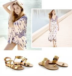 The light textiles of the LOLA 2015 Summer Collection combined with golden sandals by Chaniotakis! Shoe Collection, Summer Collection, Summer 2015, Spring Summer, Golden Sandals, Lola Fashion, Gold Shoes, Summer Shoes, Textiles