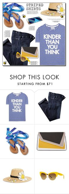"""""""Stripes"""" by anne-irene ❤ liked on Polyvore featuring Each X Other, 7 For All Mankind, âme moi, Kate Spade, Samsung, Dolce&Gabbana and stripedshirt"""