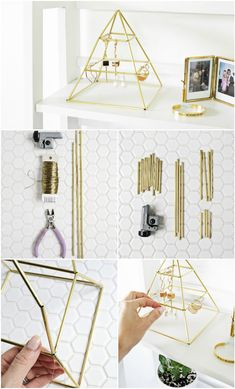 Jewelry Making Ideas 100 DIY Jewelry Organizers - Want a lovely jewelry display for your rings or earrings? These 100 DIY jewelry organizers or holder will be total help to make your own special jewelry Diy Jewelry Holder, Diy Jewelry Making, Necklace Holder, Diy Necklace, Homemade Jewellery, Diy Earring Holder, Gold Necklace, Diy Organizer, Jewelry Organization