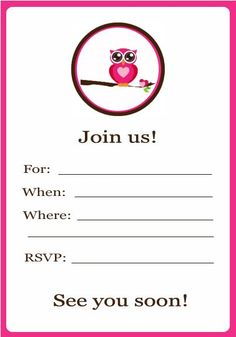 Owl Party Invitation (printable) - also has a cupcake topper!