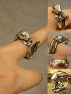 Rolf the rabbit is finished! Sterling Silver - Wax carving, cast and finished to be a ring fitting a vari. Never Lose Hop Jewelry Art, Silver Jewelry, Jewellery, Wax Carving, Sculpting, Gold Rings, Artisan, Rings For Men, It Cast