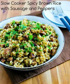 Slow Cooker Spicy Brown Rice with Sausage and Peppers from Kalyn's Kitchen; this recipe requires a little advance prep, but it's so worth it!  [via Slow Cooker from Scratch] #SlowCookerRecipe  #CrockPotRecipe
