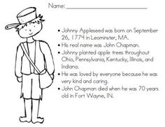This is a free coloring page to celebrate and learn about Johnny Appleseed. It is geared toward lower elementary students. There is also a matching PowerPoint in my store, as well as an easy reader book. Too Cool For School, School Fun, School Ideas, Johnny Appleseed, September Themes, September Art, First Grade, Second Grade, Apple Unit